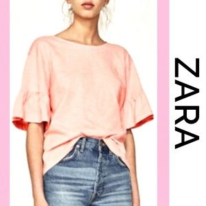 ZARA Ruffled Bell-Sleeves Peach Tee Medium